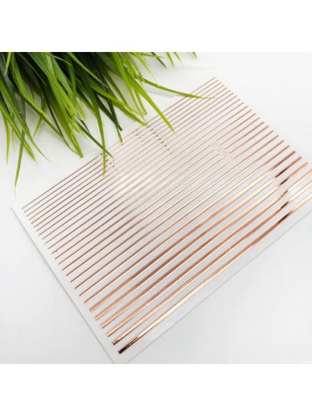 3D металлические наклейки полосы для дизайна ногтей (розовое золото)